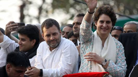 February 11, 2019: Congress leader Rahul Gandhi (L) at a political rally with his sister Priyanka Gandhi Vadra in Lucknow, the capital of the election bellwether Uttar Pradesh state.