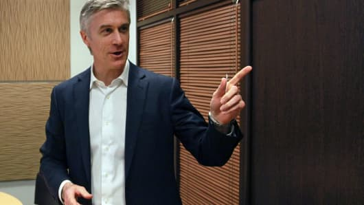 Michael Calvey, co-managing partner of Baring Vostok Capital Partners, gestures during an interview at the company's headquarters in Moscow, Russia, on Tuesday, April 4, 2011.