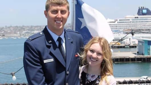 Megan and Lance Konzen at his commissioning ceremony.