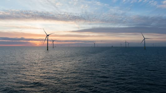 This image shows Orsted's Walney Extension offshore wind farm.