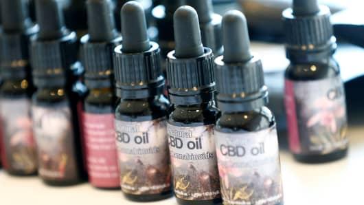 Cannabidiol (CBD) oil bottles.