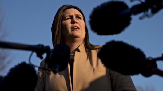 Sarah Huckabee Sanders, White House press secretary, speaks to members of the media outside the White House in Washington, D.C., U.S., on Wednesday, Jan. 16, 2019.