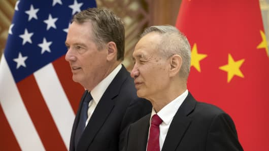 US Sales Representative Robert Lighthizer and Chinese Deputy Prime Minister Liu He at Diaoyutai State Guesthouse in Beijing on February 15, 2019