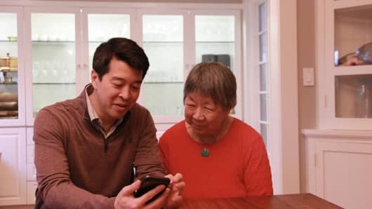 Health-tech investor Greg Yap with his mom