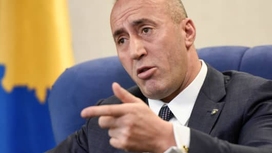 Kosovo Prime Minister Ramush Haradinaj speaks during an interview with the AFP, in Pristina on January 25, 2019. - A deal between Serbia and Kosovo is possible this year but cannot include border changes, Kosovo's premier Ramush Haradinaj told AFP in an interview, warning that territory swaps could revive old demons in the war-scarred Balkans.
