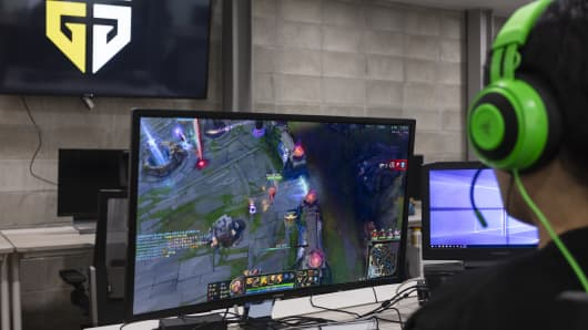 "A member of Gen.G's ""League of Legends"" team practices ahead of a match."