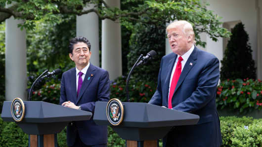 Prime Minister of Japan Shinz Abe, and U.S. President Donald Trump hold a joint press conference in the Rose Garden at the White House in Washington, D.C., on Thursday, June 7, 2018.
