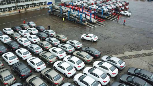 Cars wait for shipping overseas at Lianyungang Port on February 14, 2019 in Lianyungang, Jiangsu Province of China.