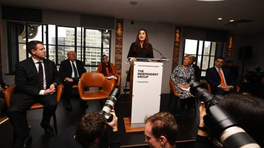 Labour MP Luciana Shuker announces her resignation from the Labour Party at a press conference on February 18, 2019 in London, England.