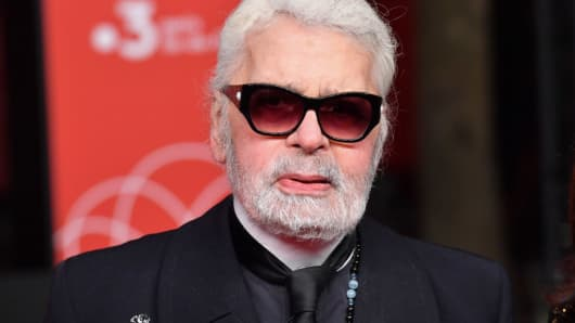 f2a82a2af1f Karl Lagerfeld at the switching on of the Christmas lights on the Champs  Elysees in Paris