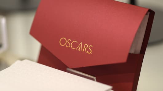 An Oscars winner's envelope is seen in a souvenir store outside the Dolby Theatre before the 91st Academy Awards in Hollywood, Los Angeles, California, February 14, 2019.
