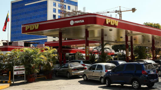 A fuel filling station of PDVSA, the Venezuelan state-owned oil and natural gas company.