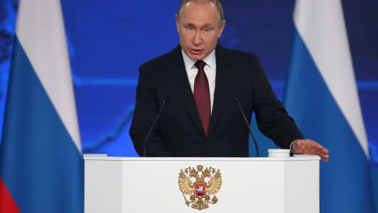 Vladimir Putin, Russia's president, delivers his state-of-the-nation address in Moscow, Russia, on Wednesday, Feb. 20. 2019. Already this year people should feel changes for the better, Putin said in his annual state-of-the-nation speech on Wednesday.