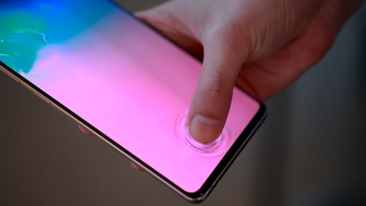 The fingerprint reader is built into the screen.