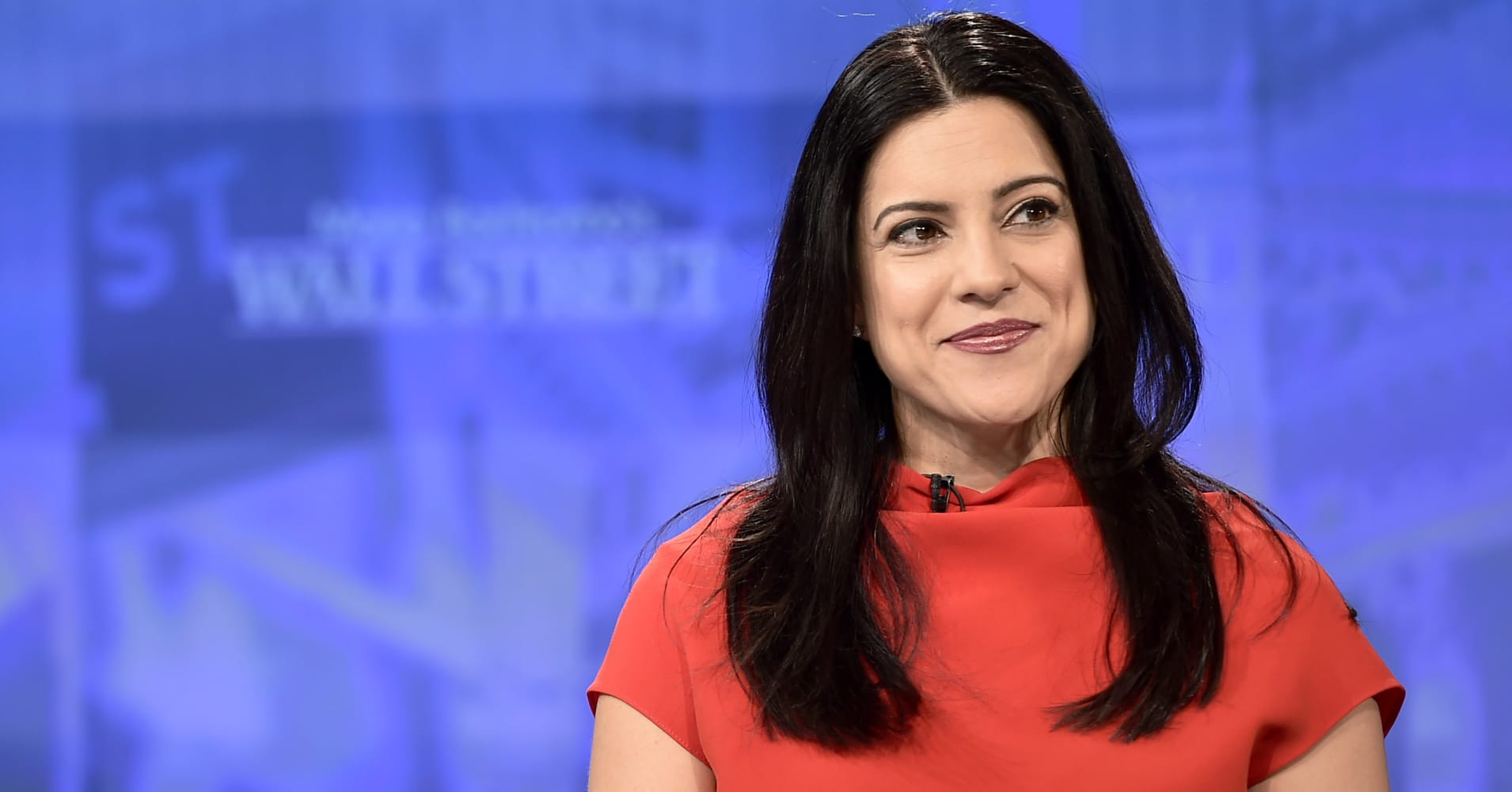 Reshma Saujani participates in an interview with Maria Bartiromo on 'Maria Bartiromo's Wall Street' at Fox Business Network Studios on Feb. 11, 2019 in New York City.