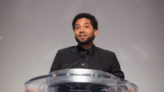 Jussie Smollett attends the Thurgood Marshall College Fund gala on Oct. 23, 2017 in Washington, DC.