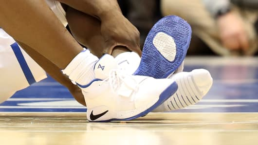 A detailed view of the shoe worn by Zion Williamson #1 of the Duke Blue Devils against the North Carolina Tar Heels during their game at Cameron Indoor Stadium on February 20, 2019 in Durham, North Carolina.