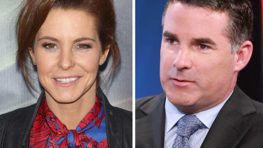 Correspondent Stephanie Ruhle (l) and Under Armour CEO, Kevin Plank (r).