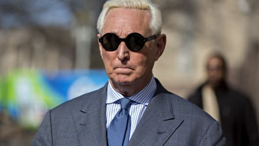 Roger Stone, former adviser to Donald Trump's presidential campaign, arrives to federal court in Washington, D.C., U.S., on Thursday, Feb. 21, 2019.