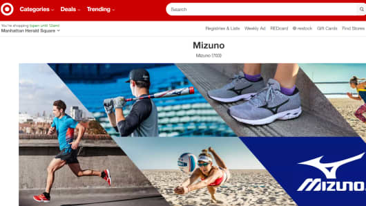 Sporting goods retailer Mizuno is now a third-party seller on Target's website.