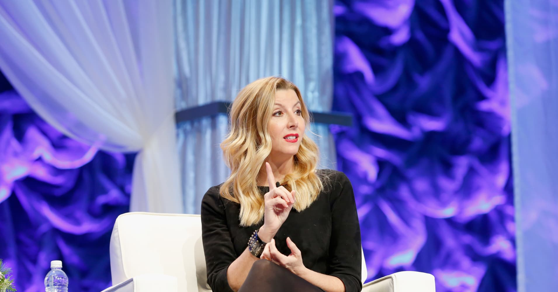 Spanx founder Sara Blakely speaks onstage during the Massachusetts Conference for Women at Boston Convention & Exhibition Center on December 8, 2016 in Boston, Massachusetts.