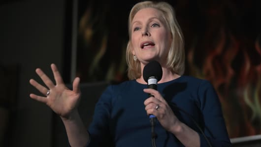 CEDAR RAPIDS, IOWA - FEBRUARY 18: U.S. Senator Kirsten Gillibrand speaks to guests during a campaign stop at the Chrome Horse Saloon on February 18, 2019 in Cedar Rapids, Iowa.