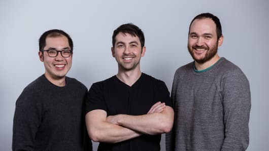From left, Lightmatter founders Darius Bunandar, Nick Harris and Thomas Graham.