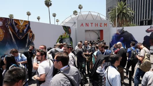 Game enthusiasts and industry personnel line up to test 'Anthem' during the Electronic Arts EA Play event at the Hollywood Palladium on June 9, 2018 in Los Angeles, California.