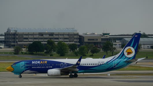 Nok Air plane prepare takeoff at Don Mueang International Airport, Bangkok's Thailand, 7 January 2019.