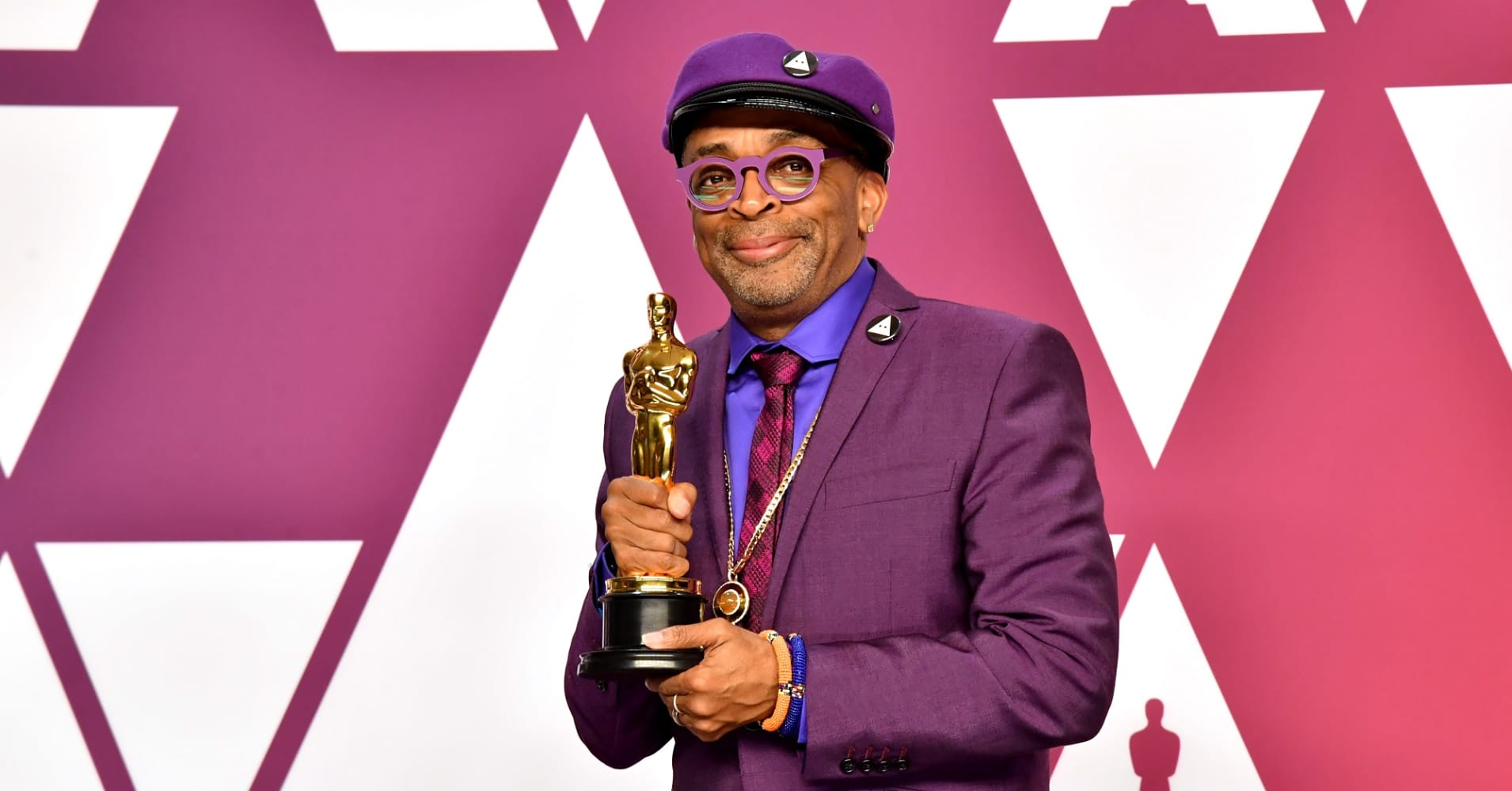 Director Spike Lee poses with the Best Adapted Screenplay award for 'BlacKkKlansman' in the press room during at Hollywood and Highland on February 24, 2019 in Hollywood, California.