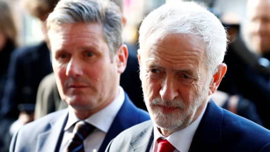 Britain's Labour Party leader, Jeremy Corbyn and Labour Party's Shadow Secretary of State for Departing the European Union Keir Starmer leave a meeting with European Union Chief Brexit Negotiator Michel Barnier (not pictured) at the EU Commission headquarters in Brussels, Belgium, February 21, 2019.