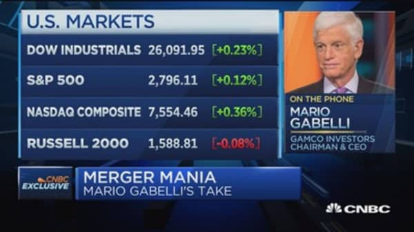 Mario Gabelli's take on today's flurry of M&A activity