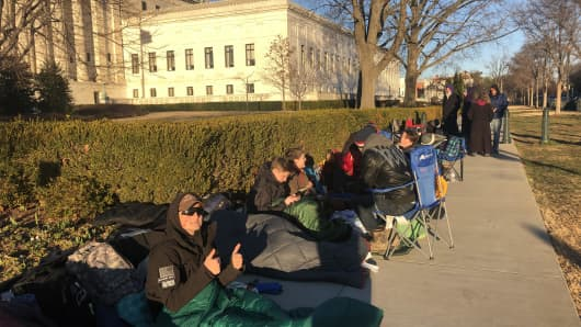 High school and college students camped out in front of the U.S. Supreme Court Feb. 25, two days ahead of scheduled arguments in American Legion v. American Humanist Association and Maryland-National Capital Park and Planning Commission v. American Humanist Association.