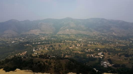 This photograph taken from a Pakistani army post shows a general view of Bandla Valley in district Bhimber near the Line of Control (LoC) in Pakistan-administered Kashmir.