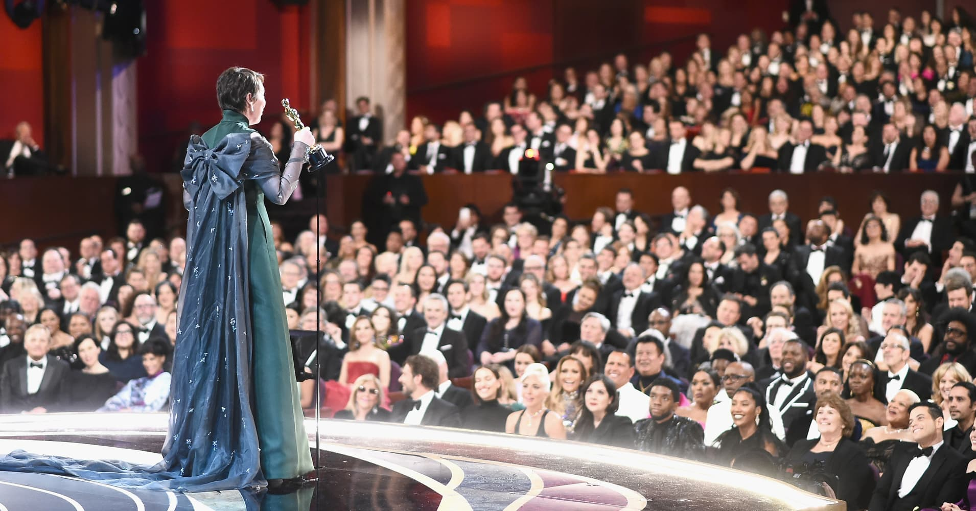 Olivia Colman accepts the Actress in a Leading Role award for 'The Favourite' onstage during the 91st Annual Academy Awards at the Dolby Theatre on February 24, 2019 in Hollywood, California.