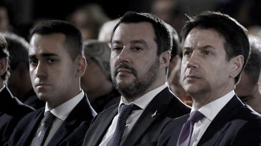The Vice Premiers Luigi Di Maio and Matteo Salvini with the Prime Minister Giuseppe Conte participate in the Celebration of the Day of Remembrance at the Quirinale, on January 24, 2019 in Rome, Italy.