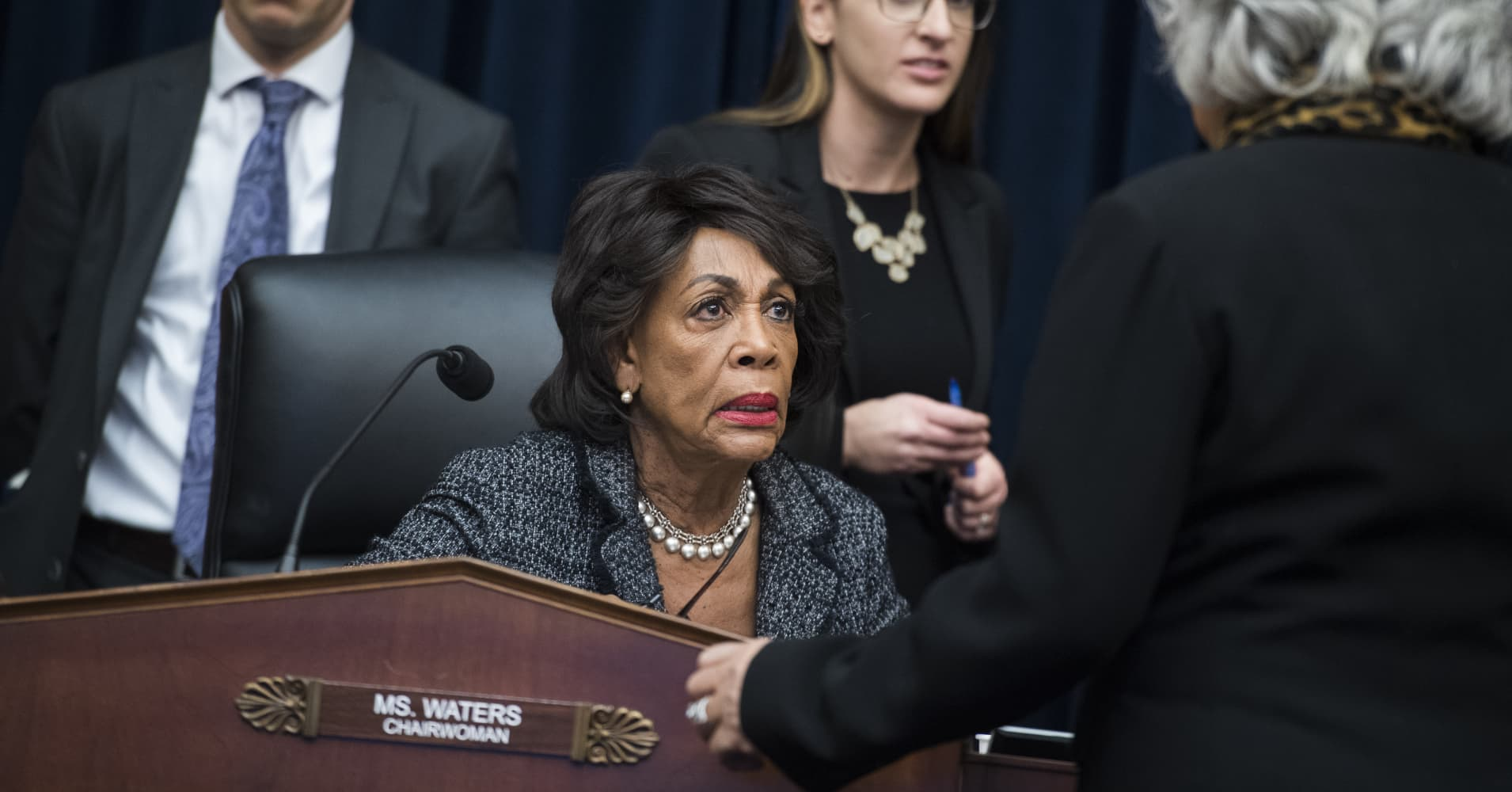 Chairwoman Maxine Waters, D-Calif., left, talks with Rep. Joyce Beatty, D-Ohio, during a House Financial Services Committee organizational meeting in Rayburn Building.