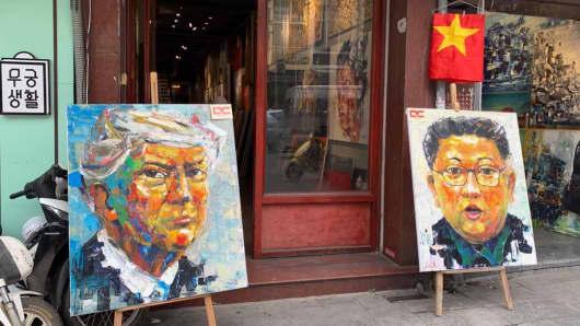 Art work on display in Hanoi, Vietnam, ahead of U.S. President Donald Trump's meeting with North Korean leader Kim Jong Un