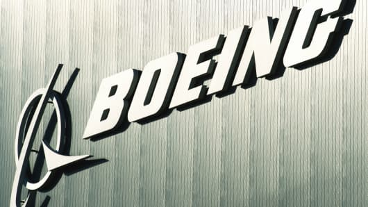 The Boeing logo and name are seen on a building at Boeing's new facilities April 27, 2012, in North Charlston, South Carolina.