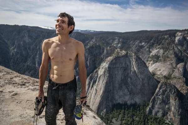 Alex Honnold photographed while filming 2019's Oscar-winning documentary film 'Free Solo.'