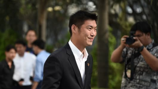 Thai tycoon, Thanathorn Juangroongruangkit, leader of the Future Forward Party, arrives at the Office of the Attorney General in Bangkok on February 27, 2019.