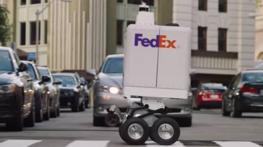 Image result for FedEx partners with Walmart, Pizza Hut to test last-mile delivery robot