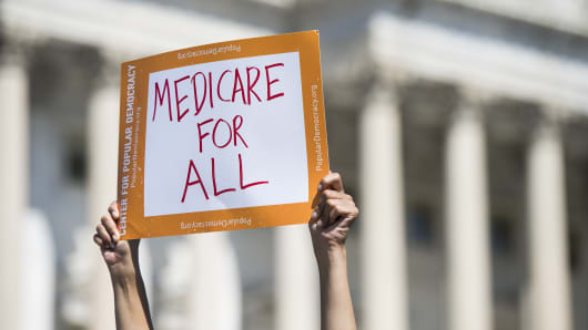 Progressive Democrats of America holds a news conference to announce the launch of a Medicare for All Caucus at the Capitol on Thursday, July 19, 2018.