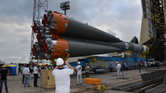 The Arianespace Soyuz rocket carrying the first six satellites for OneWeb.