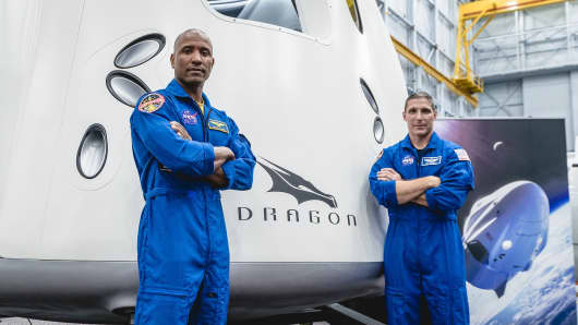 NASA astronauts Victor Glover and Mike Hopkins, assigned to fly on the first operational mission of SpaceX's Crew Dragon.