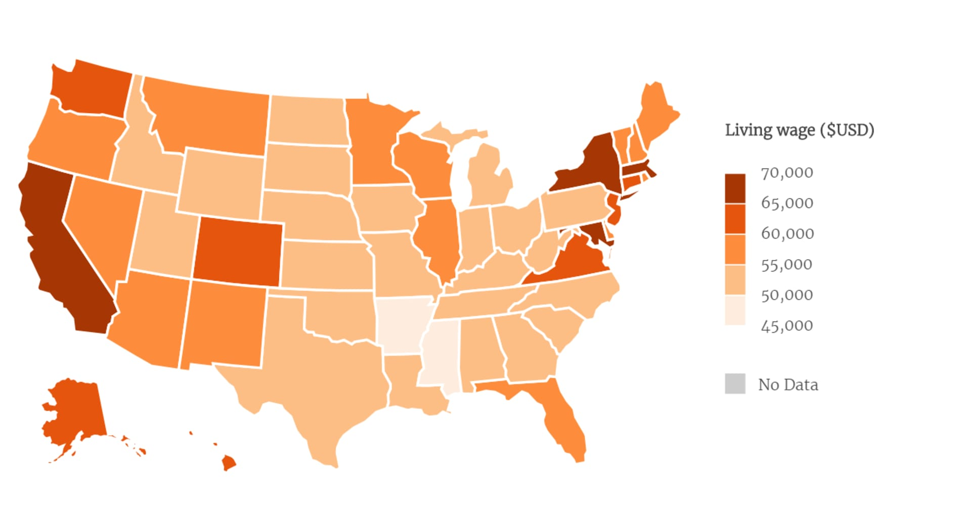 map shows what a living wage would be in every us state