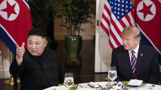 U.S. President Donald Trump and North Korean leader Kim Jong Un speak to the press before having dinner together in Hanoi, Vietnam on Feb. 27, 2019.