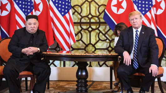 U.S. President Donald Trump holds a meeting with North Korea's Kim Jong Un in Hanoi on Feb. 28, 2019.