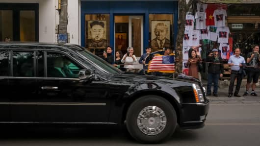The car carrying President Donald Trump is seen leaving the U.S.-North Korea nuclear summit earlier than originally scheduled on Feb. 28, 2019 in Hanoi, Vietnam.