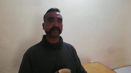 Indian pilot Wing Commander Abhi Nandan captured by Pakistan is seen in this handout photo released February 27, 2019.